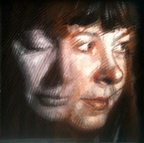 Study For Anna Demetriades oil painting acrylic plexi Moire Fine Art Boise Idaho