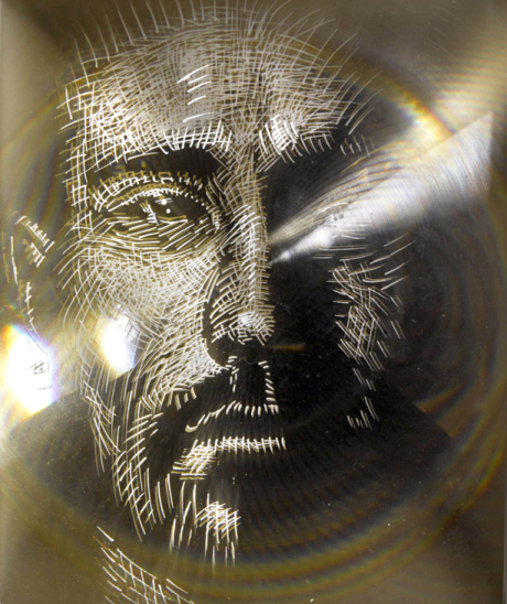 Fresnel series 4 painting fresnel lens portrait mirror acrylic layers drawing marcus pierce art new york